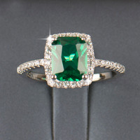 2016 R&J 3.0Ct New Fashion 925 Sterling Silver Ring Natural Emerald Luxury Jewelry Brand Wedding Engagement For Women Gift