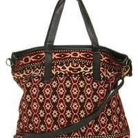 Topshop Tapestry Tote with Faux Leather Trim