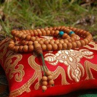 Sandalwood Mala 108 Beads with Turquoise Spacers for Meditation