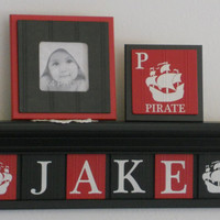 "Pirate Wood Name Shelf, Nautical Decor for Baby Boy Nursery 24"" Black Shelf 6 Red and Black Letter Plaques Personalized JAKE with Ship"