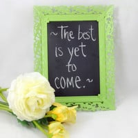 Vintage Ornate Framed Chalkboard, Upcycled Shabby Chic Home Decor, Lime Green Apple, Chalk Board Metal Frame, Cute Message Board, Repurposed
