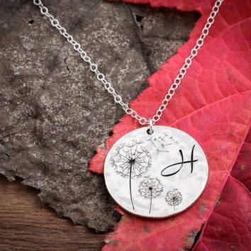 Silver Dandelion Necklace with Custom initial