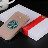 Starbucks portable battery charger 8800mAh power bank ultra-thin polymer Rehinestone power bank