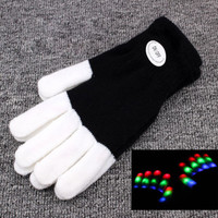1Pc Fashion LED Rave Flashing Gloves Glow 7 Mode Light Up Finger Lighting Black