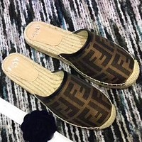 Fendi Slippers Shoes Women FF Print Letters Fisherman Slippers Shoes Coffee
