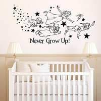 Peter Pan Never Grown Up Vinyl Wall Words Decal Sticker Graphic
