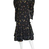 1980s LOUIS FERAUD Floral Silk Dress