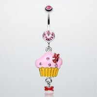 Yummy Cupcake Bow Belly Ring