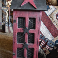 Primitive Home Decor, Saltbox House in Burgundy, Exclusive