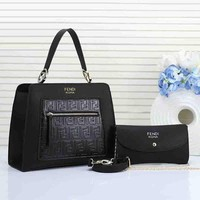 FENDI Women Fashion New Shoppong Bag Leather Satchel Crossbody Shoulder Bag Handbag Two Piece Set Black