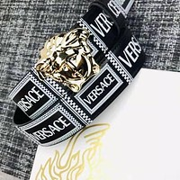 VERSACE Hot Sale Women Men Personality Smooth Buckle Leather Belt Gold