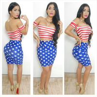 American Flag Print Off Shoulder Body-con Two-Piece Dress