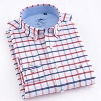 Men's Long Sleeve Oxford Plaid Striped Button Down Dress Shirt with Single Chest Pocket 100% Cotton Leisure Office Work Shirts