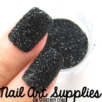 Dark Night - Black Textured Caviar Raw Nail Glitter Mix 3.5 Grams