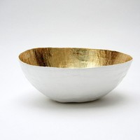 Paper Mache Bowl White and Gold The Mini Made to Order by etco