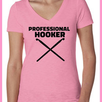 Professional Hooker. Slub Cross Over Ladies fit V neck. S-XXL.Crotchet. Knitter. Hook. Yarn. Knitting needles. Happy. Funny Womens Clothing