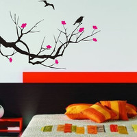 Cherry Blossom Tree with Birds Decal Sticker Wall Vinyl Art Home Room Decor