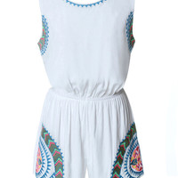 White Sleeveless Printed Cut out Back Romper