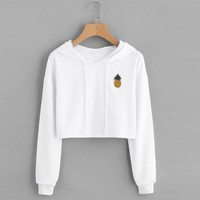Fashion High Quality Women Teen Girls Cotton Cute Crop Top Printed Hoodie Pullover Top Sweatshirt 2018 New