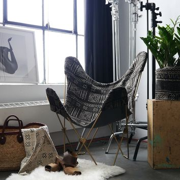 Made in USA Butterfly Chair African Mudcloth