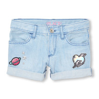 Girls Embellished Patched Roll-Cuff Denim Shorts | The Children's Place