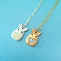Cute, Heart, Pearl Bunny, Gold or Silver, Necklace