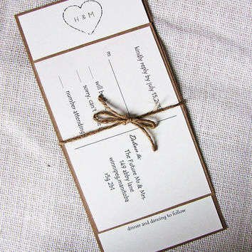 Rustic Heart Twine and Kraft Wedding Invitation Deposit Listing
