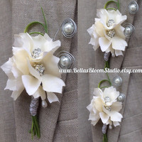 Brooch Boutonniere White Boutonniere White Men's Lapel Pin Corsage flower Prom Boutonniere Grooms  Boutonniere Beach  Boutonniere White etsy