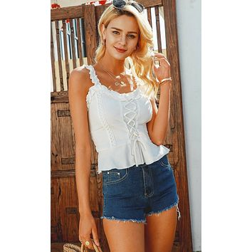 My Heart Is Pounding White Sleeveless Ruffle Square Neck Lace Up Peplum Smocked Tank Top Blouse