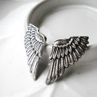 Wing Earrings  Silver Angel Wings on Stainless Steel