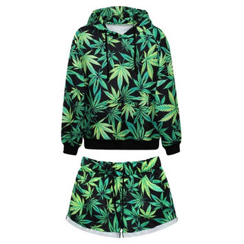 Harajuku Galaxy Marijuana Leaf Prined 3D Womens Hoodie Leisure Sport Suit Set Weed Leaf Sportswear Casual Short Pant = 1932374404