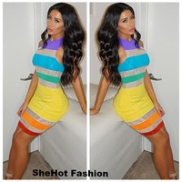 Women Casual Sleeveless Striped Color Contrast Bodycon Dress