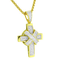 Ribbon Design Cross 14k Gold Plated Lab Diamonds Iced Out Stainless Steel Necklace