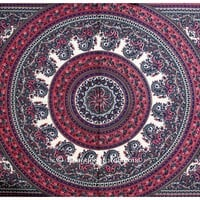 Beautiful Pink and Grey Cotton Boho Wall Tapestry for Home Décor