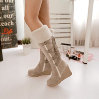 2016 Winter Fashion Scrub Snow Boots Wedges Knee-high Slip-resistant Boots Thermal Female Cotton-padded Shoes Warm Plush Shoes