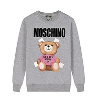 Moschino New fashion letter bear print couple long sleeve top sweater Gray
