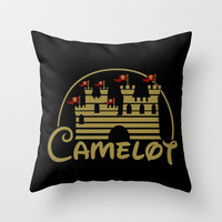 Merlin's Magic Kingdom Throw Pillow by fishbiscuit