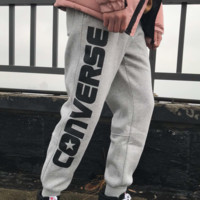 Converse winter new couple models casual wild thick warm pants Grey