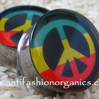 Rasta Peace Sign Plugs [rasta Peace Sign Plugs gauges] - $19.95 : AntiFashion Organics - Organic Wood Plugs and Tunnels, Featuring Resin Picture Plugs Gauges, AntiFashion Organics - Organic Wood Plugs and Tunnels, Featuring Resin Picture Plugs Gauges