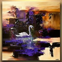 """Modern Art Poster on Photographic Paper - Swan Song - 40""""x40"""" - Art by Osnat"""
