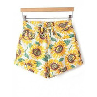 Casual Sunflower Print High-Waisted Women's Denim Shorts