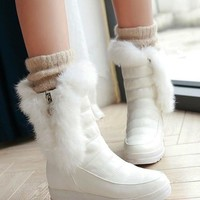 New White Round Toe Within The Higher Faux Fur Patchwork Casual Boots