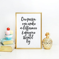 JFK make a difference typography Watercolor Letters Printable Motivational Quote Print Wall Art Rainbow Color Inspirational Quote QUOTE ART