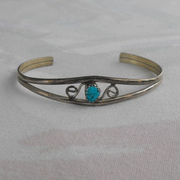 Sterling Silver Smaller Cuff Bracelet Openwork Turquoise Small Vintage Jewelry