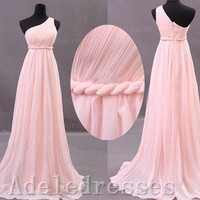 Elegant One Shoulder Pink Chiffon Long Prom Dress,A Line Empire Waist Prom Dress Gown,Ruffles Custom Made Graduation Dress,Bridesmaid Dress