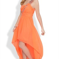 Dress with One Shoulder Stone Strap