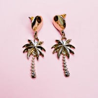 Circle Stud With Palm Tree Earrings