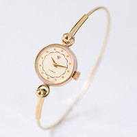 Gold plated women watch small. Evening watch for women vintage. Cocktail watch round tiny bracelet. Lady watch wedding gift Mechanical watch