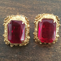 Ruby Red Glass Earrings Vintage Jewelry, Victorian Revival, CHRISTMAS SALE