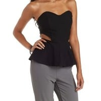 Black Strapless Cut-Out Peplum Top by Charlotte Russe